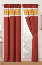 4-Pc Mica Diamond Geometric Embroidery Curtain Set Rust Orange Mango Off-White - $40.89