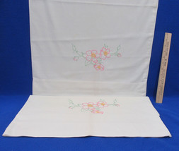 Pair Vintage Off White Cream Color Pillowcases Embroidered Floral Flower... - $11.87