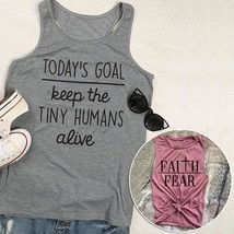 Women's Fashion Today's Goal Keep The Tiny Humans Alive Letter Printed Tank Top