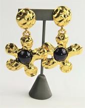 ESTATE VINTAGE Jewelry EDOUARD RAMBAUD DANGLE RUNWAY FLOWER CABOCHON EAR... - $365.00