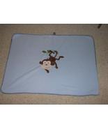 GARANIMALS BABY BOY BLUE MICRO FLEECE MICROFLEECE BLANKET MONKEY LEAF BROWN - $13.85