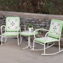 Retro Patio Set Metal 3 Piece Rocking Chair Seating Outdoor Home Furnitu... - $292.04