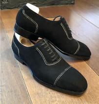 Handmade Men's Black Dress/Formal Lace Up Oxford Suede Shoes image 4