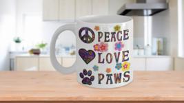 Hippie Art Pet Lover Coffee Mug Gift Peace Love Paws Flower Child - $14.84+