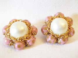 Pink Gold Fluss Bead Earrings Baroque Pearl Cluster Clip Chain Vintage E... - $17.81