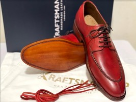 Handmade Men's Red Leather Lace Up Oxford Dress/Formal Shoes image 3