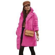 Women's Trendy Pink Thicken Faux Fur Lapel Parka Collar Jacket Winter Coat image 5
