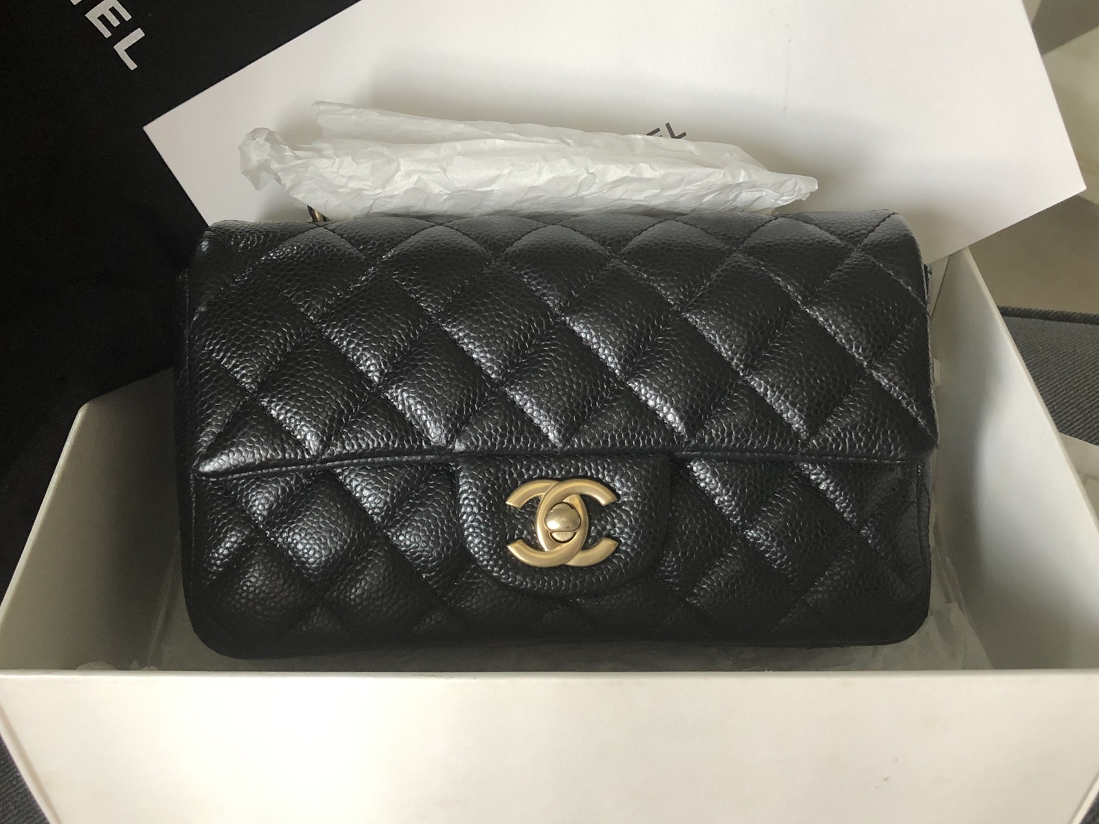 42cff0b45ee2 100% AUTH CHANEL BLACK CAVIAR LARGE MINI 20CM RECTANGULAR FLAP BAG ...