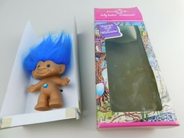 "Treasure Troll Doll 3"" Blue Hair Eyes Blue Belly Gem Ace Novelty - $29.69"