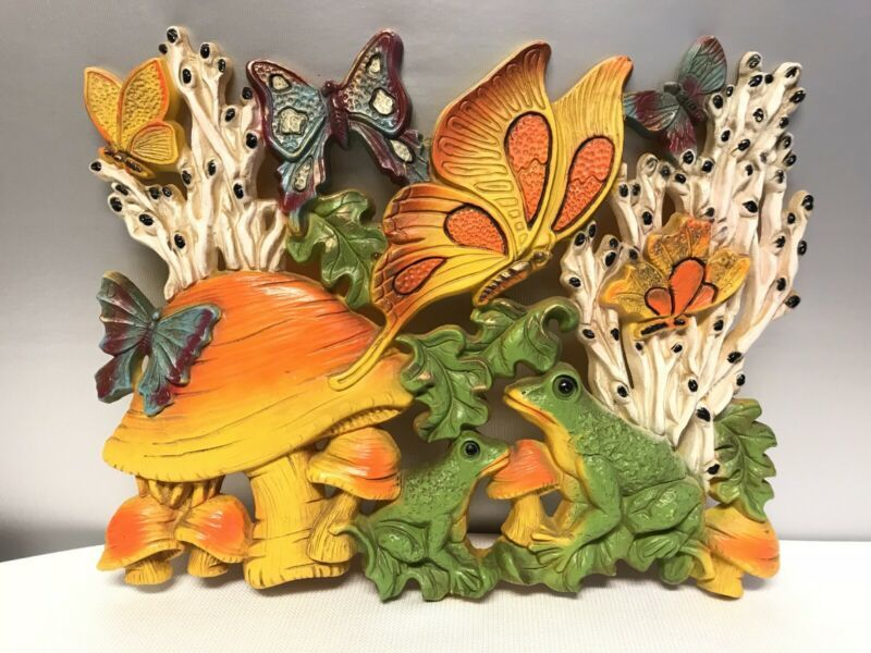Mushrooms Butterflies and Frogs Homco Wall Hanging
