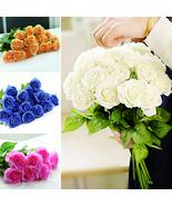 50pcs Artificial Flowers Bride Bridal Rose Silk Flowers Floral Latex Rea... - $121.44