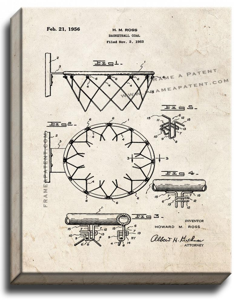 Primary image for Basketball Goal Patent Print Old Look on Canvas