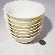 Set of 7 Trianon Arcopal France Ivory Cream Scalloped Swirl Fruit Desser... - $42.95