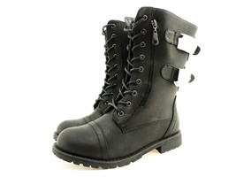 Journee Collection Women's Cedes Combat Boot, Black Leather, Size 7 B US - $34.64