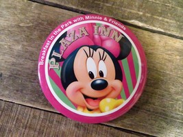 """PLAZA INN Breakfast In The Park With Minnie Mouse & Friends 3"""" Pin Butto... - $3.70"""