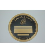 """Babcock & Wilcox Brass Plaque Plate 10"""" round never used           A18 - $49.49"""