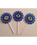 Nba Golden State Warriors Cupcake Toppers Party Deco Birthday Blue Handm... - $15.00