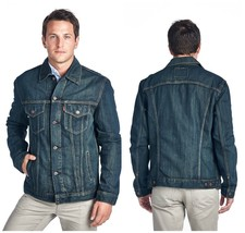 Levi's Men's Standard Cotton Trucker Button Up Denim Jean Jacket Dark Ha... - $79.00