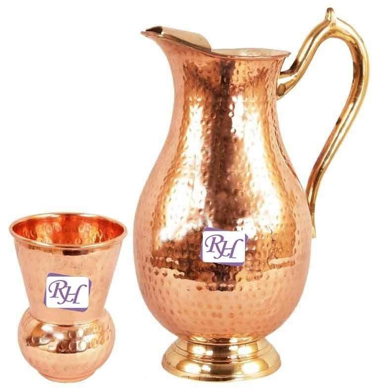 Steel Copper Hammer Jug Pitcher 1.75 Ltr, 1 Copper Glass 375 ML Storage Water