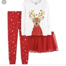 Carter's Girls Three Piece Pajama Set Christmas Reindeer Holiday Tutu 18 Months - $14.84