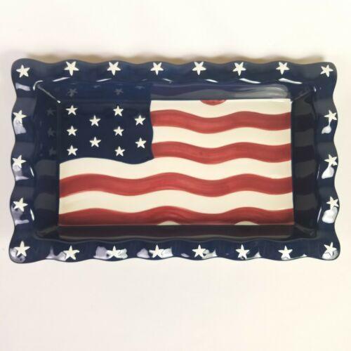 Americana Chip Dip Set USA Flag Serving Tray Stars Stripes 14 X 8.5 Homco NEW image 7