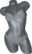 NWT DELFINA Italy 44 S B cup bikini swimsuit designer gray striped under... - $66.87