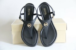 New in Box MICHAEL MICHAEL KORS RAMONA LEATHER WEDGE THONG SANDALS BLACK - $71.82