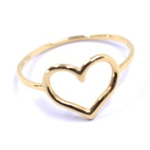 SOLID 18K ROSE GOLD HEART LOVE RING, 10mm DIAMETER HEART CENTRAL MADE IN ITALY image 1