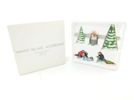 Department 56 5 Piece Winter Village Accessories Sled Well Kids Tree Por... - $19.99