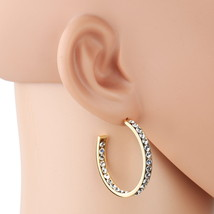 UNITED ELEGANCE Gold Tone Hoop Earrings With Sparkling Swarovski Style Crystals  - $17.99