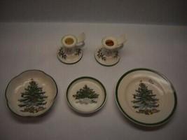 SPODE Christmas Tree CANDEL HOLDERS Dessert PLATE BOWL Butter Plate ENGLAND - $55.43