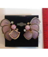 Amazing Purple Shells Thermoset Silver Tone Screw on Earrings Well Made ... - $15.35