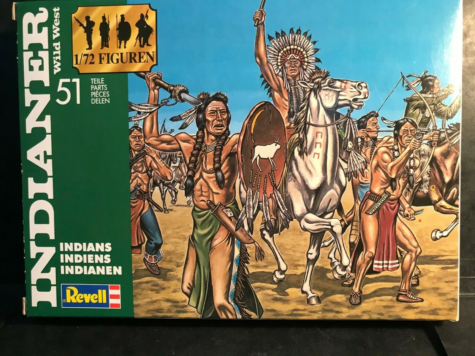 REVELL 1/72 WILD WEST  PLASTIC  INDIANS & COWBOYS 2554 & 2555 GERMANY 1990 !  - $27.00