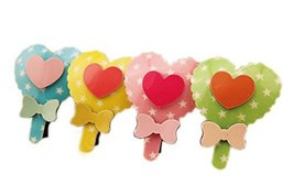 Set of 6 Heart Shape Lollipop Kids Hair Barrettes (Random Color) image 2