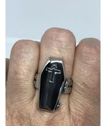 Vintage Large Stainless Steel Cross Crest Coffin Size 7 Men's Ring - $34.65
