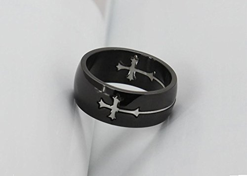 Titanium Ring w/Cross Charm - One Item w/Random Color and Design (silver-plat...