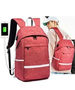 Men's Canvas Backpack Vintage USB Charging Laptop Waterproof Travel School Bag - $56.99