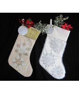 2x Christmas Gold & Silver Stockings Richly Embroidered w/ Glass Beads S... - $41.57