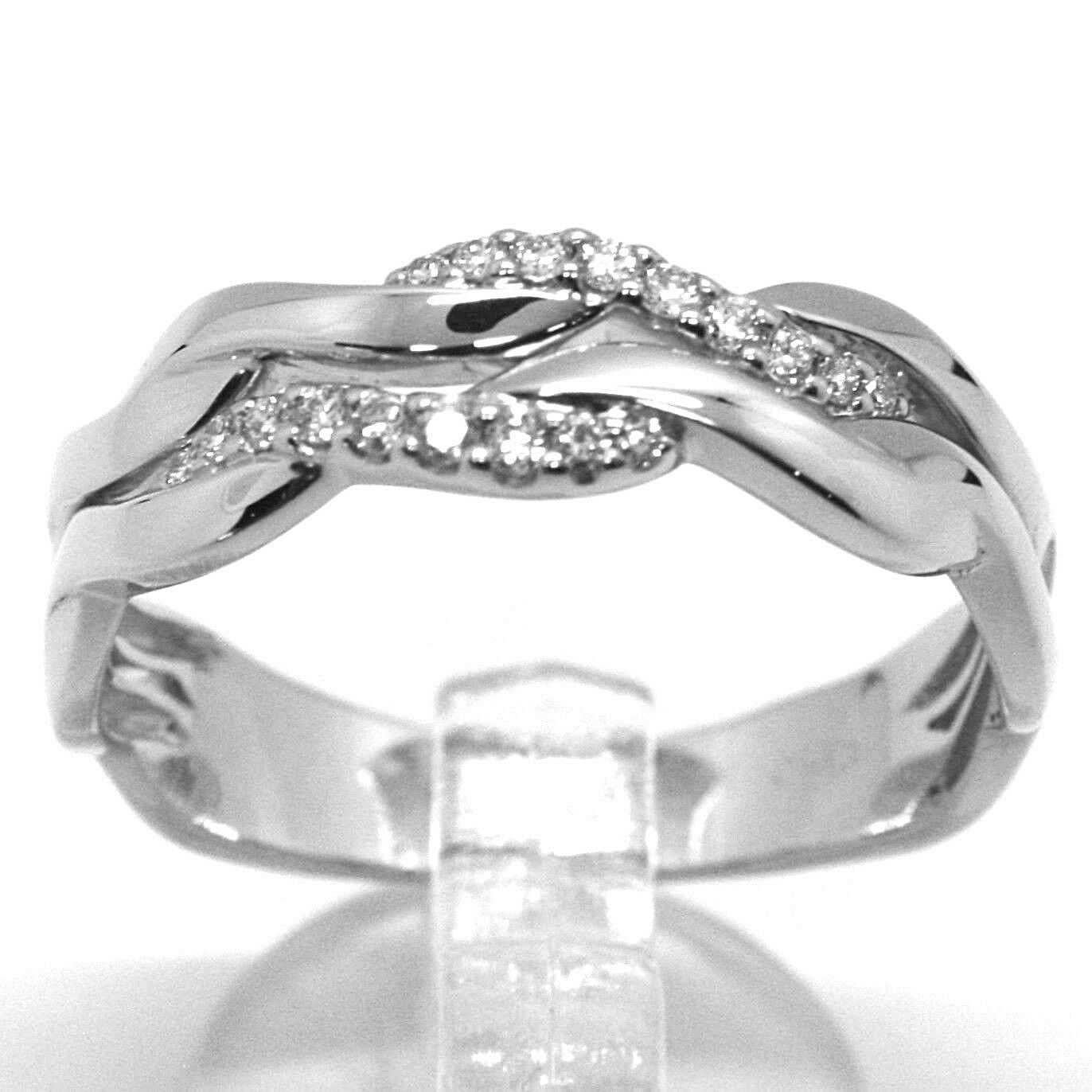 SOLID 18K WHITE GOLD BAND RING, DIAMONDS CT 0.16, WAVE, ONDULATE, BRAID
