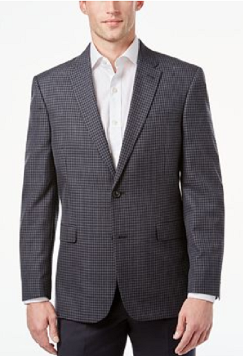 Primary image for Tommy Hilfiger Men's Slim-Fit Gray and Black Check Sport Coat,Size S36,MSRP $295