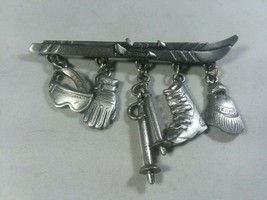 Vintage Signed JJ ARTIFACTS Pewter SKI 5 CHARMS Pin Brooch Jonette - $12.76