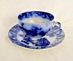 Vintage Flow blue and white Teacup and Saucer Gilman CTA Sacavem Portugal - $14.24