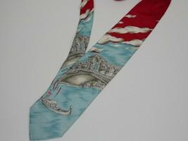 """Vintage Mens Tie necktie 4"""" wide Italy Venice Gondola silk                   BT1 - $9.89"""