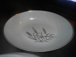Vintage Three Wheat Serving Dish From Japan White with Gold & Silver Whe... - $16.72