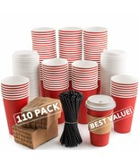 110 Pack Disposable Coffee Cups with Lids - Premium Quality 16 oz To Go ... - $68.45