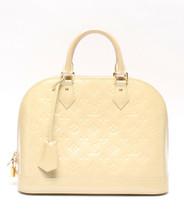 Auth Louis Vuitton Vernis Hand Bag Beige Alma PM Enamel Zipper Logo LVB0591 - $863.28