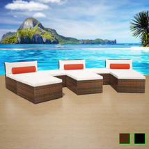 vidaXL Patio Rattan Wicker Garden Outdoor Sofa Lounge Bed Sun Lounger 2 ... - $460.99+