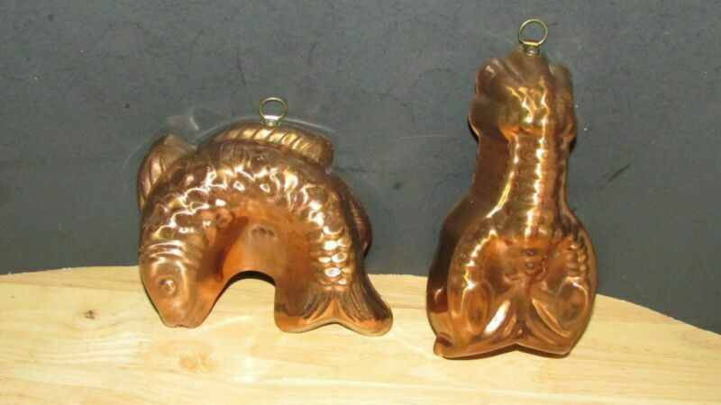 Copper tin lined Fish Lobster Jello Mold Pan lot Brass hanging ring loop Korea