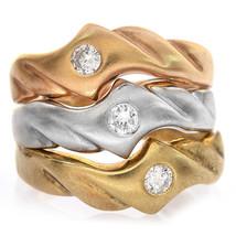 0.35 Carat Round Cut Diamond Three Piece Band Stackable Set 14K Tri-Tone Gold - $593.01