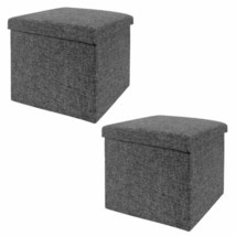 Foldable Storage Cube Ottoman CHARCOAL Grey Finish 2 PCS Vanity Stool Se... - $60.34